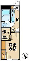 京王相模原線 稲城駅 徒歩6分の賃貸アパート 2階1Kの間取り
