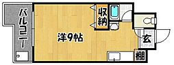 クリスタル西新[203号室]の間取り