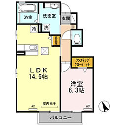 パーシモン平松[1階]の間取り