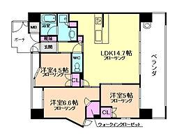 ザ・パークハウス新福島[2階]の間取り