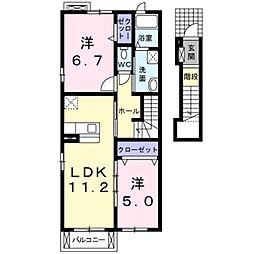 愛知県豊橋市西岩田3丁目の賃貸アパートの間取り