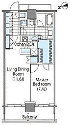 コンフォリア新宿イーストサイドタワー タワー棟 22階1LDKの間取り