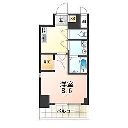 ワールドアイ江坂アルバ 8階1Kの間取り
