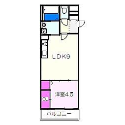 南海高野線 白鷺駅 徒歩3分の賃貸アパート 2階1LDKの間取り