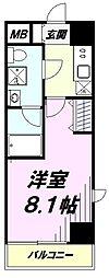 JR中央線 立川駅 徒歩8分の賃貸マンション 10階1Kの間取り