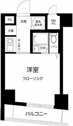 JR山手線 田町駅 徒歩9分の賃貸マンション 2階ワンルームの間取り