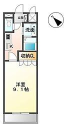 名鉄三河線 猿投駅 徒歩19分の賃貸マンション 3階1Kの間取り