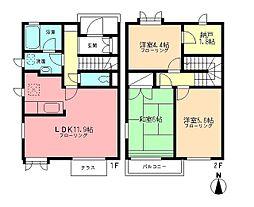 [テラスハウス] 神奈川県横浜市緑区西八朔町 の賃貸【/】の間取り
