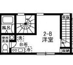都営三田線 志村三丁目駅 徒歩10分の賃貸アパート 2階ワンルームの間取り