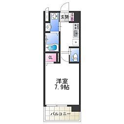 南海汐見橋線 芦原町駅 徒歩5分の賃貸マンション 4階1Kの間取り