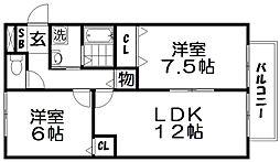 ツインコートB棟[2階]の間取り