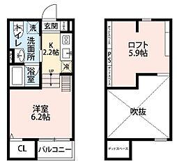 南海線 湊駅 徒歩15分の賃貸アパート 2階1Kの間取り