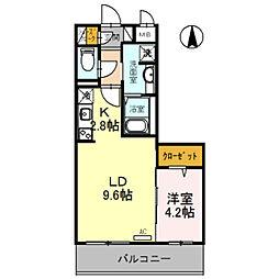 仮称D-room旭ヶ丘町 5階1LDKの間取り