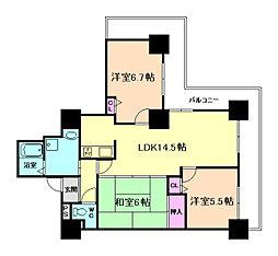 キングマンション堂島川[29階]の間取り