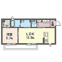 (仮)海老名市国分南2丁目シャーメゾン 1階1LDKの間取り