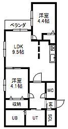 ガーデンテラス4C[3階]の間取り