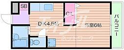 JR東海道・山陽本線 千里丘駅 徒歩15分の賃貸マンション 1階1DKの間取り