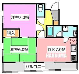シャトー乙川[201号室]の間取り