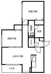 北海道札幌市白石区栄通2丁目の賃貸マンションの間取り