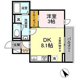 (仮)D-ROOM高松町 2階1DKの間取り