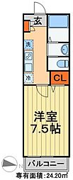 JR京葉線 蘇我駅 徒歩7分の賃貸アパート 2階1Kの間取り