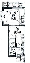ピアコートTM武蔵関弐番館 2階1DKの間取り