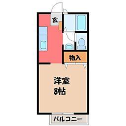 栃木県下都賀郡壬生町緑町2の賃貸アパートの間取り