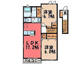 栃木県栃木市都賀町平川の賃貸アパートの間取り