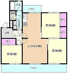 下長尾住宅3棟[313号室]の間取り
