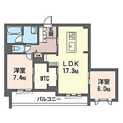 ロワイヤル フレーズ 武蔵野 2階2LDKの間取り