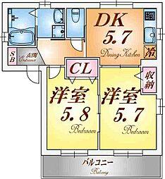 シャーメゾン新長田[2階]の間取り