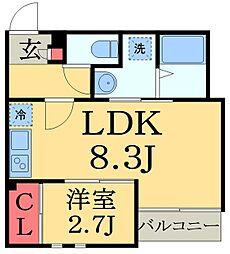 JR京葉線 蘇我駅 徒歩7分の賃貸アパート 1階1LDKの間取り
