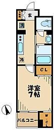 小田急小田原線 読売ランド前駅 徒歩7分の賃貸マンション 3階1Kの間取り
