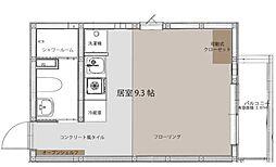 京成本線 海神駅 徒歩8分の賃貸アパート 3階ワンルームの間取り