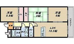 大阪府堺市西区浜寺船尾町西4丁の賃貸マンションの間取り