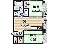 大阪府大阪市住吉区万代2丁目の賃貸マンションの間取り