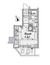 メイクスデザイン芝公園 7階ワンルームの間取り