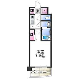 セレニテ日本橋プリエ 13階1Kの間取り