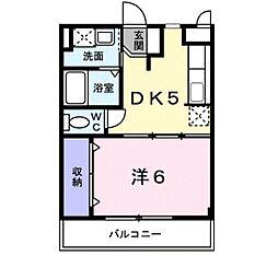 カーサ・フィオーレII 3階1DKの間取り