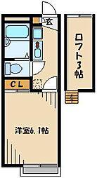 JR川越線 武蔵高萩駅 徒歩13分の賃貸アパート 1階1Kの間取り