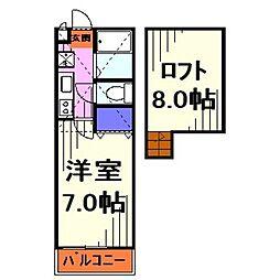 埼玉県川口市芝下1丁目の賃貸アパートの間取り