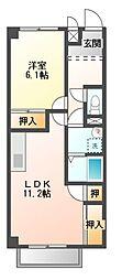 愛知県田原市片西3の賃貸アパートの間取り