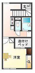 愛知県豊川市豊川町奴通の賃貸アパートの間取り