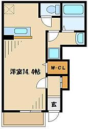 クレメント 1階ワンルームの間取り