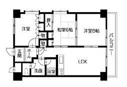 徳島県徳島市勝占町外敷地の賃貸マンションの間取り
