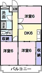 埼玉県草加市手代3丁目の賃貸マンションの間取り