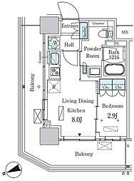 パークアクシス大塚ステーションゲートタワー 17階1LDKの間取り