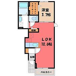 栃木県小山市城東5の賃貸アパートの間取り