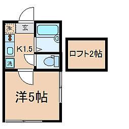 神奈川県横浜市金沢区柳町の賃貸アパートの間取り