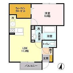 Green roof[102号室]の間取り